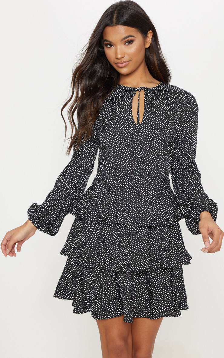 Black Polka Dot Layered Frill Tie Neck Smock Dress 1