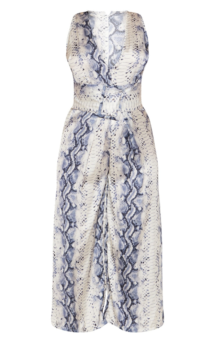 Grey Satin Snake Print Belt Culotte Jumpsuit 3