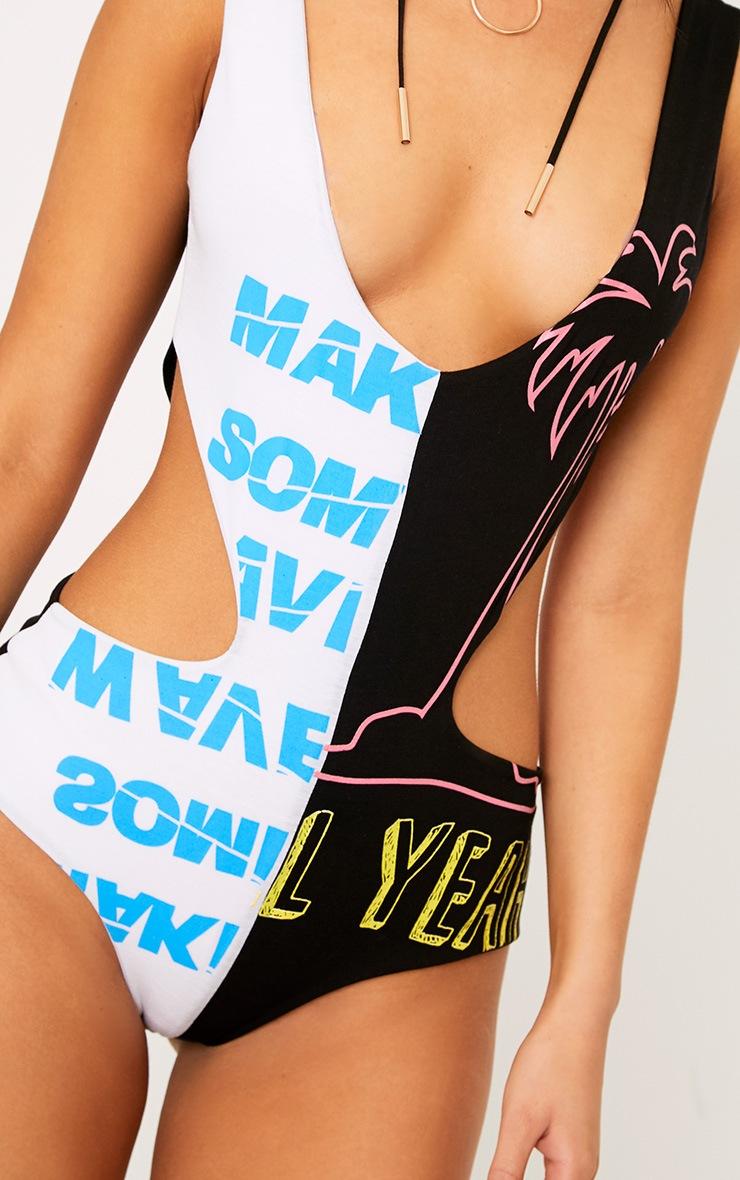Black Cut Out Spliced Print Thong Bodysuit 7
