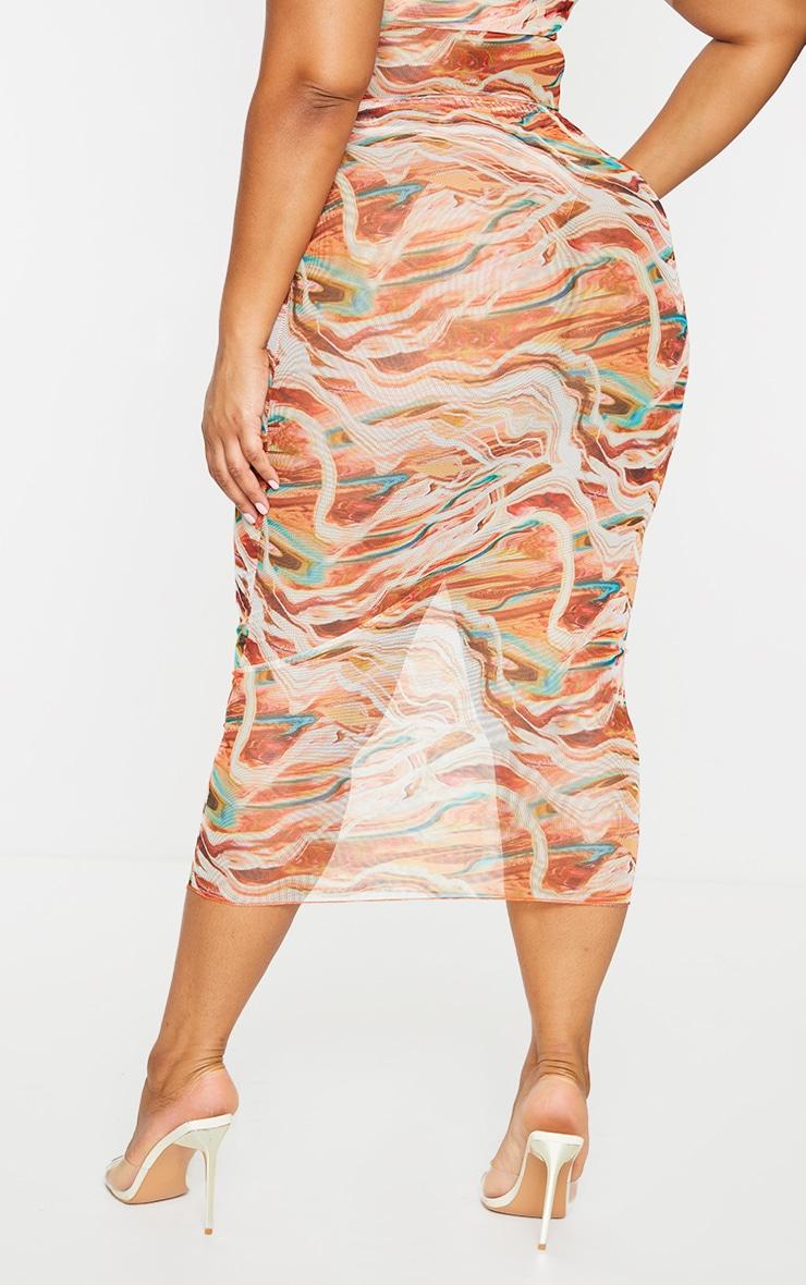 Plus Brown Marble Print Mesh Bodycon Midi Skirt 3