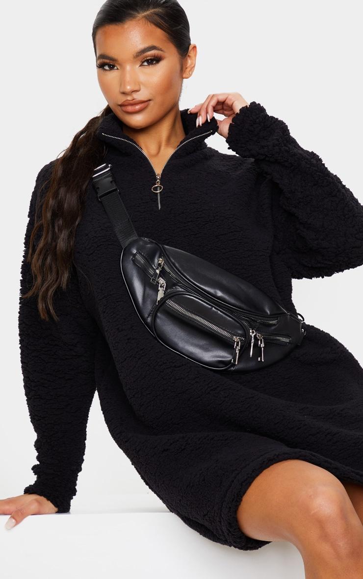 Black Oversized Borg Zip Neck Sweater Dress 1