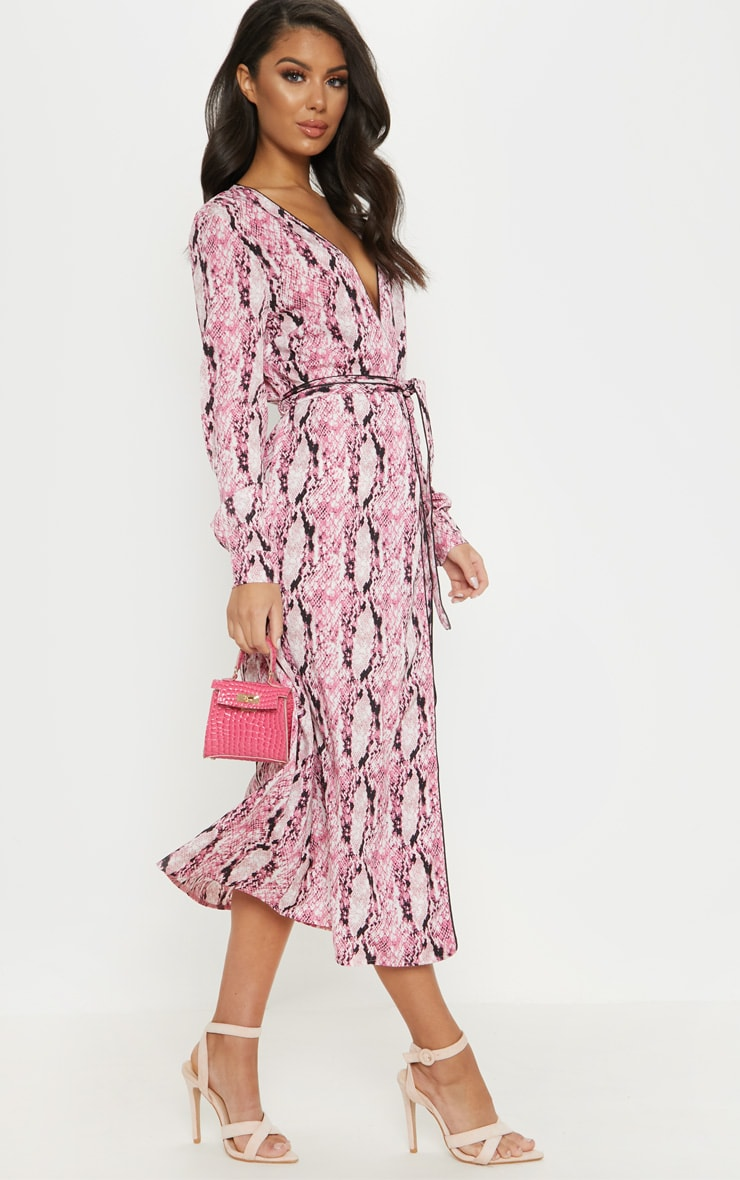 Pink Snake Print Belted Midi Dress 4