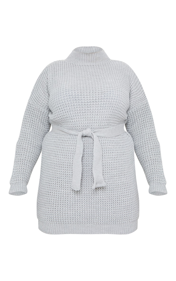 Plus Light Grey Soft Touch Belted Knitted Sweater Dress 5