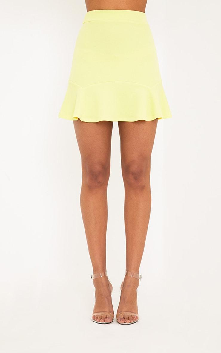 Verity Lemon Textured Flippy Hem Mini Skirt 2