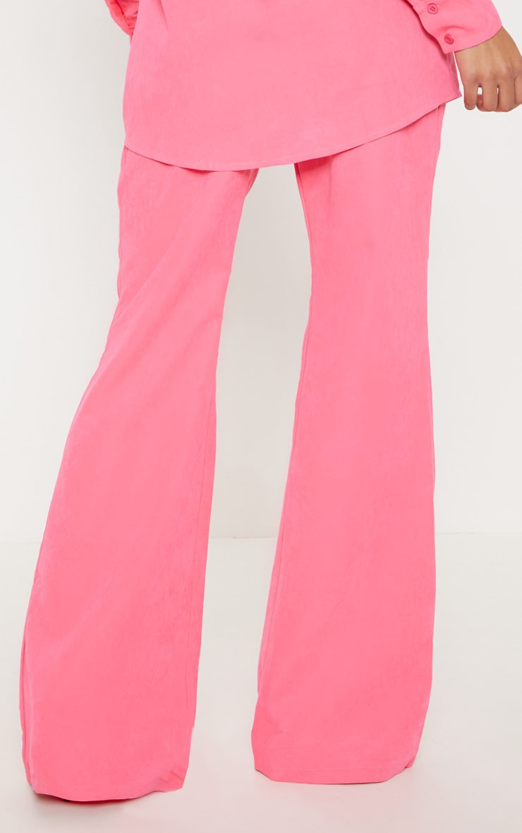 Hot Pink Faux Suede Wide Leg Trouser 4