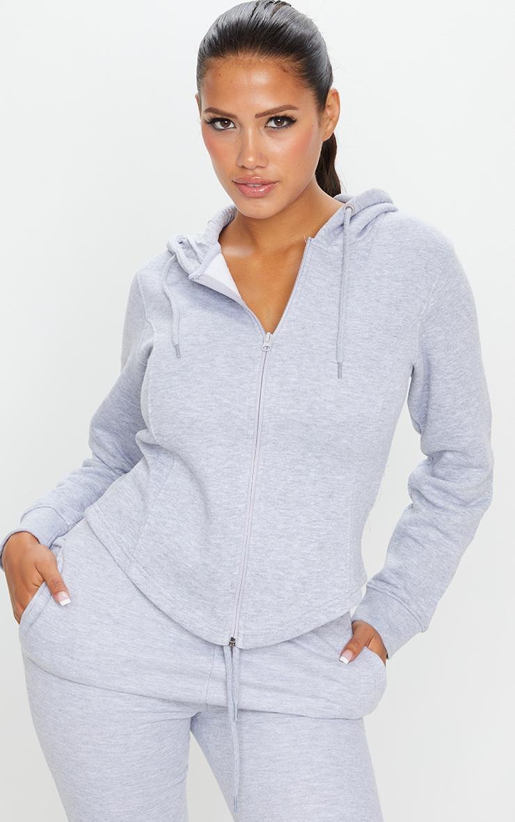 Shape Grey Corset Detail Zip Up Hoodie 1