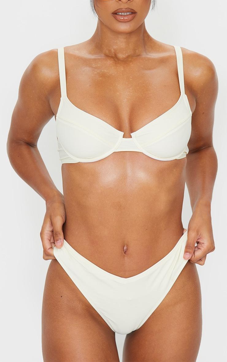 Cream High Leg Bikini Bottom 1