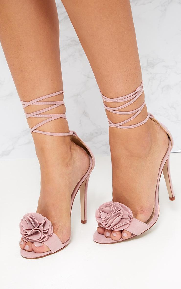 Blush Ruffle Detail Lace Up Heels  2