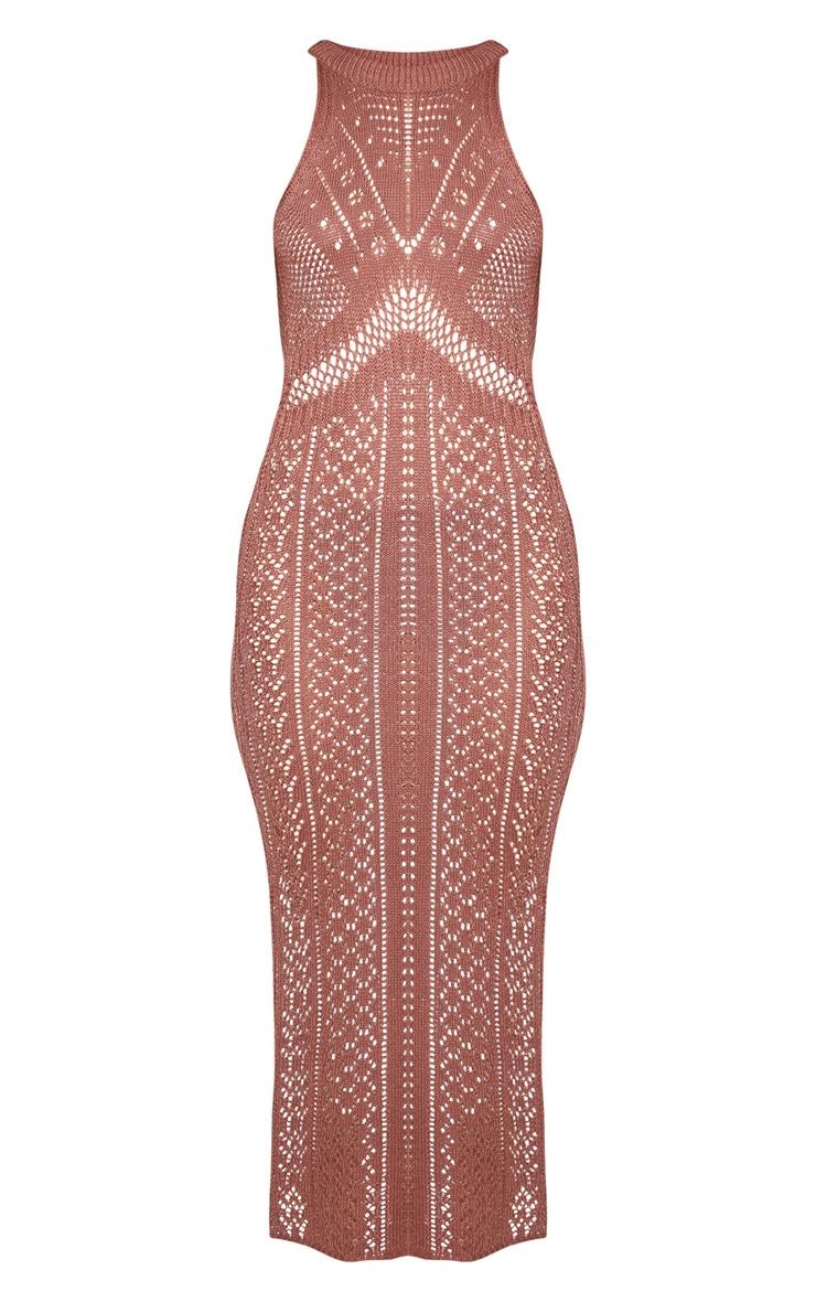 Mocha Cut Out Detail Crochet Knit Midi Dress 5