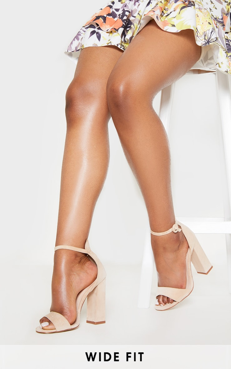 Nude Wide Fit High Block Heel Sandal