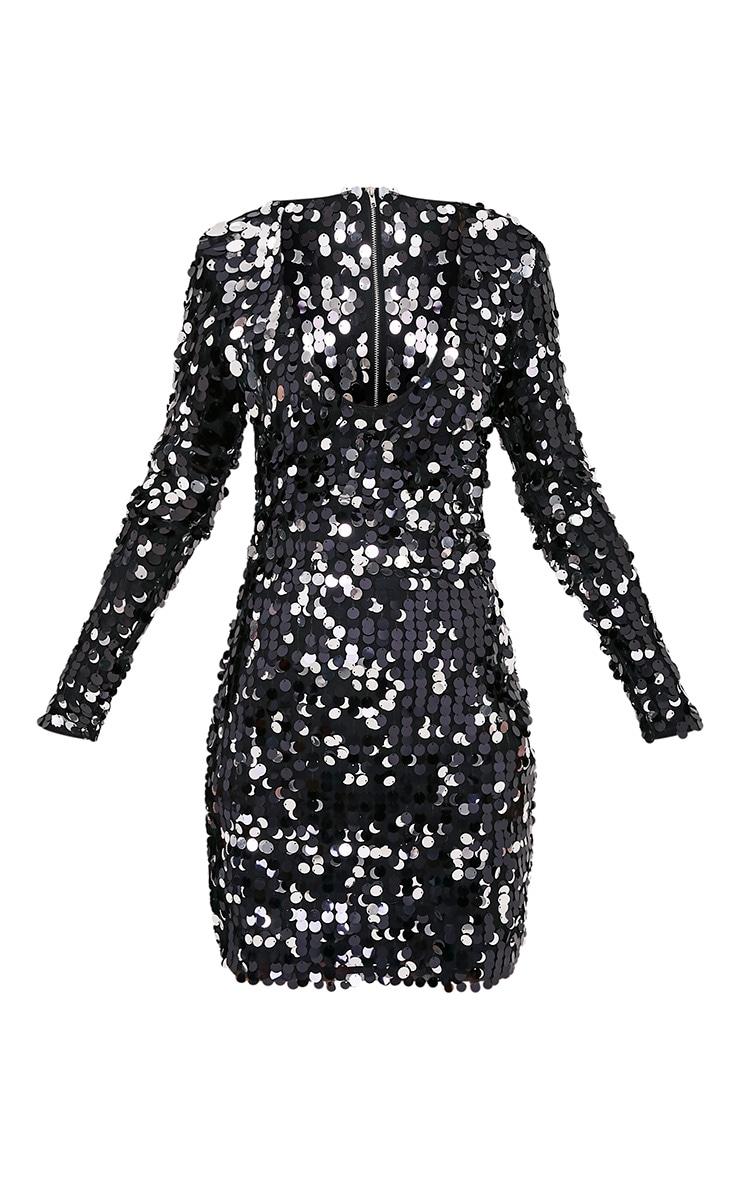 Janelle Black Long Sleeve Plunge Sequin Bodycon Dress 3