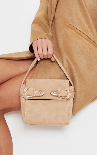 Stone Faux Suede Western Buckle Mini Tote Bag