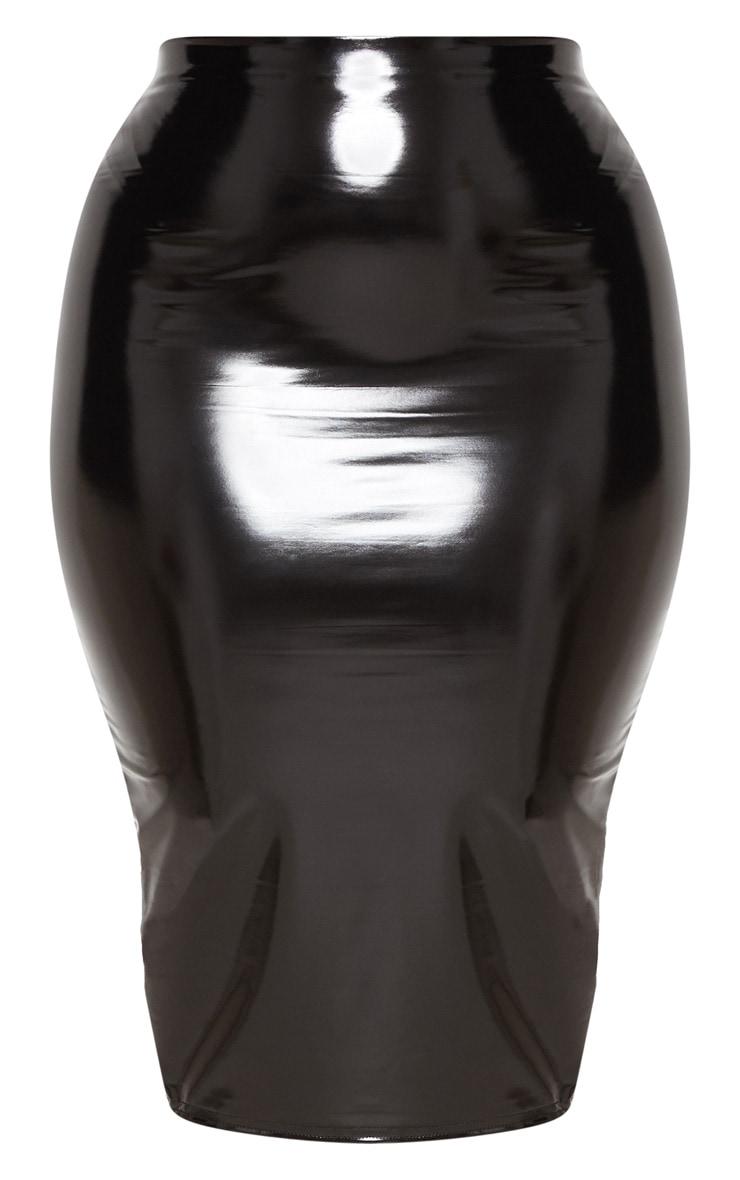 Plus Black Vinyl Midi Skirt 3