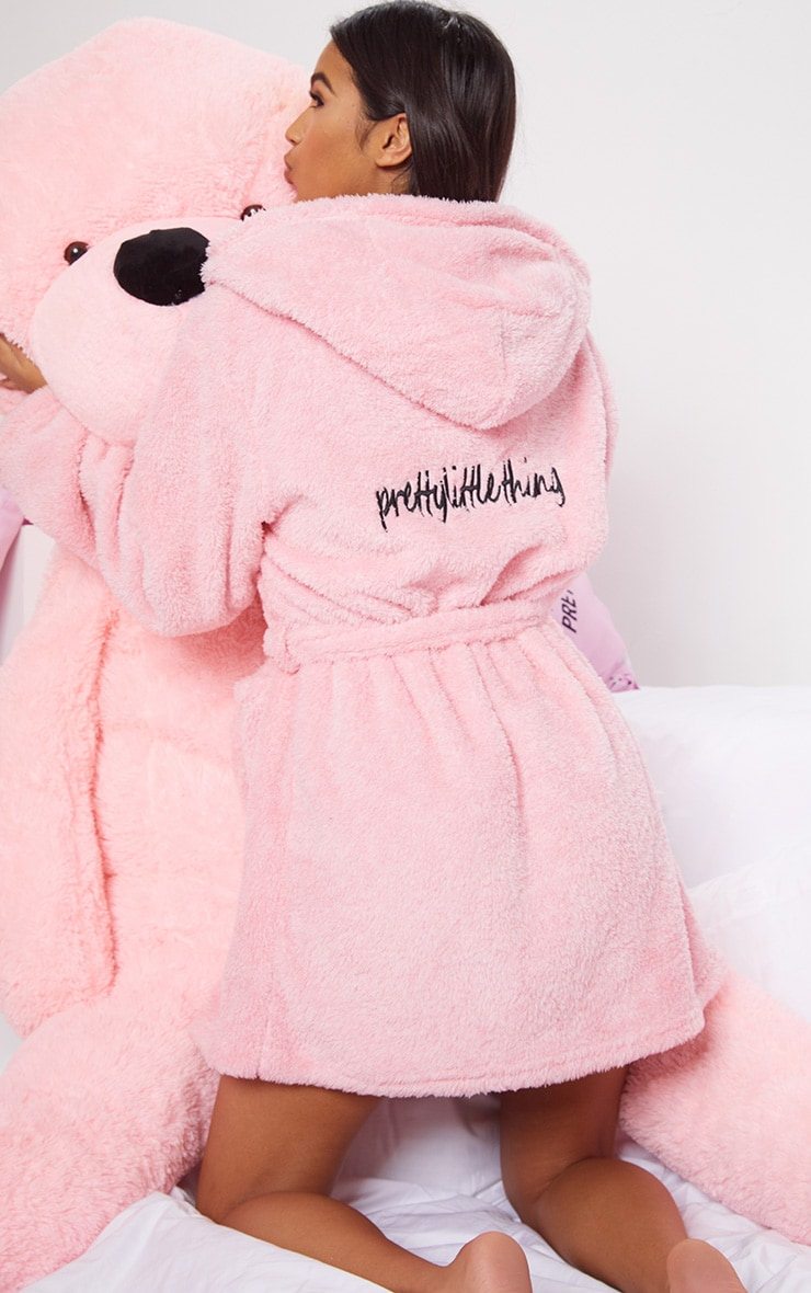 PRETTYLITTLETHING Pink Fluffy Dressing Gown 3