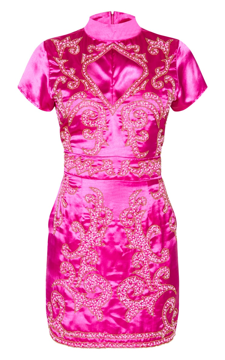 Hot Pink Satin Embellished Cut Out Short Sleeve Bodycon Dress 3