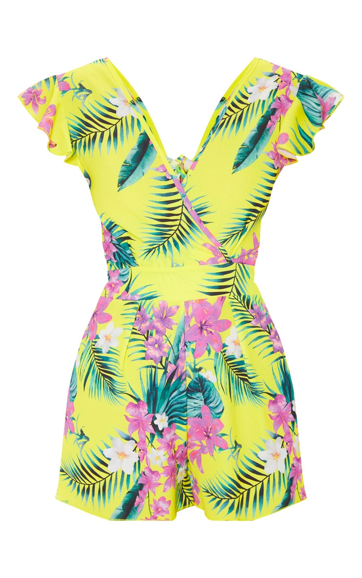 Yellow Tropical Print Wrap Playsuit 3