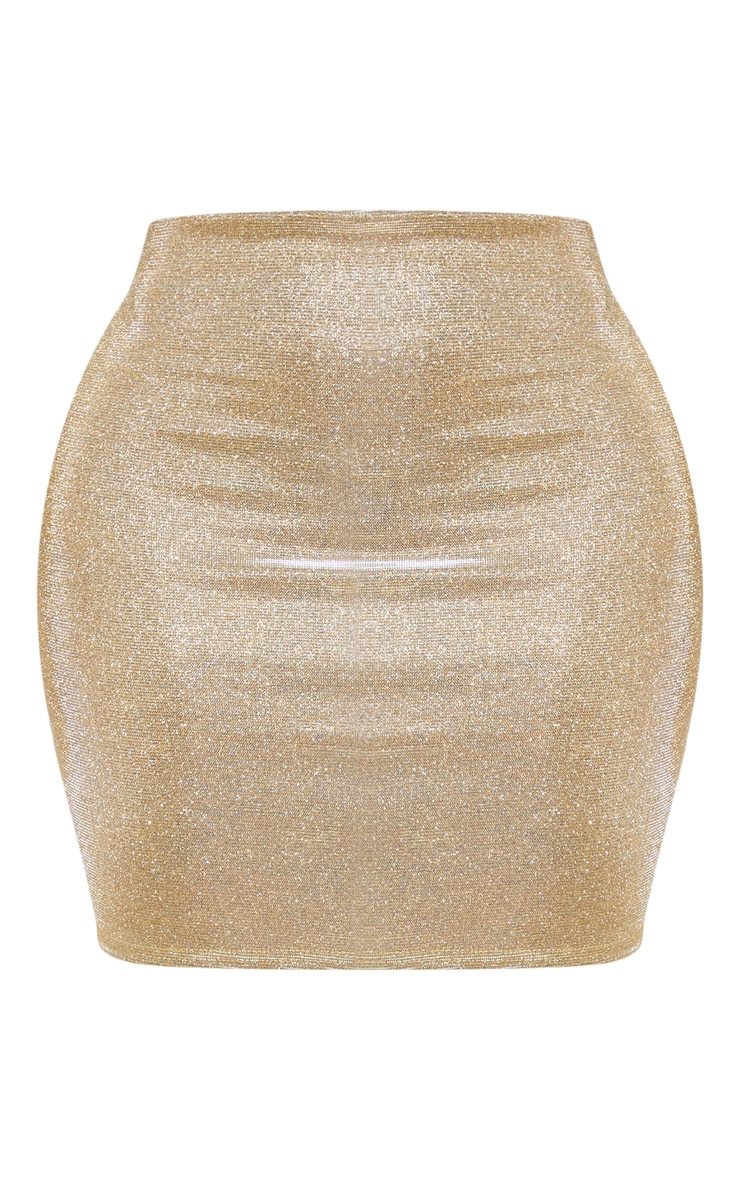 Shape Gold Glitter Bodycon Skirt 3