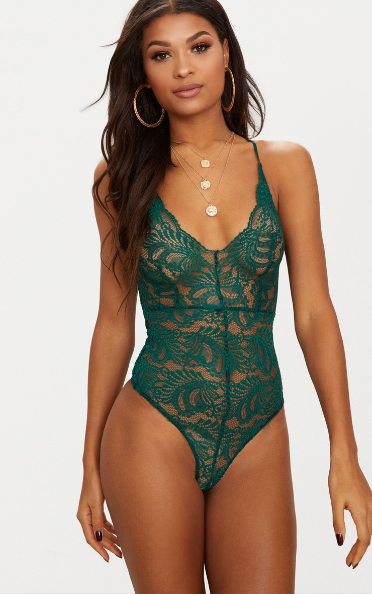 Dark Green Sheer Lace Cross Back Bodysuit  2