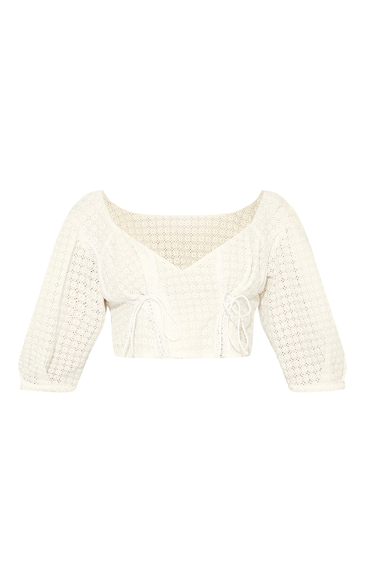 White Broderie Puff Sleeve Double Lace Up Crop Top 5