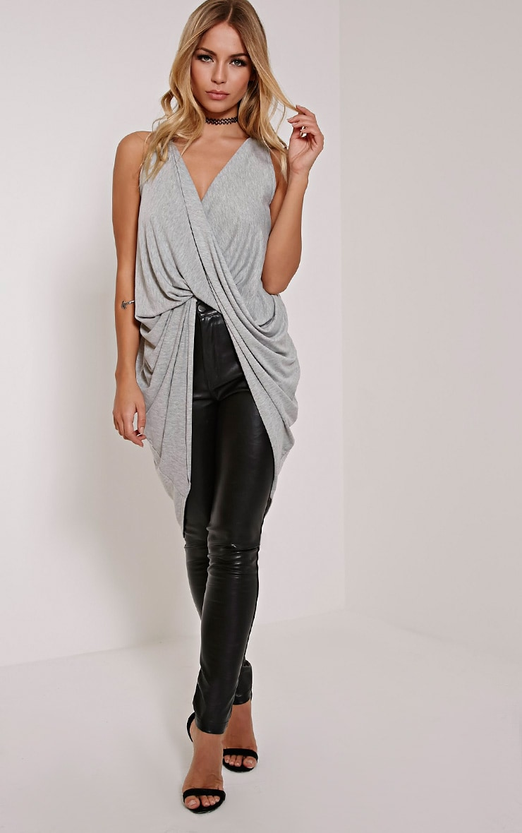 Brea Grey Long Twist Front Sleeveless Top 4
