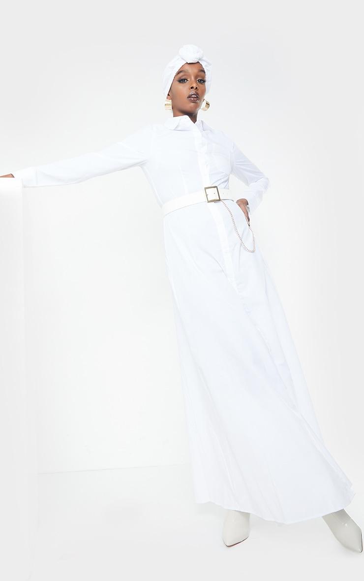 White Woven Button Front Maxi Shirt Dress 1
