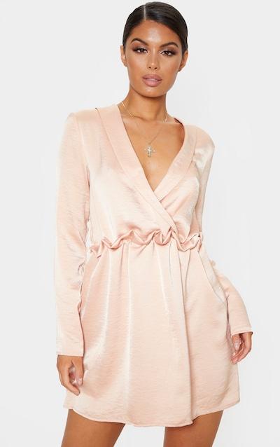 Pale Peach Hammered Satin Ruched Waist Shift Dress