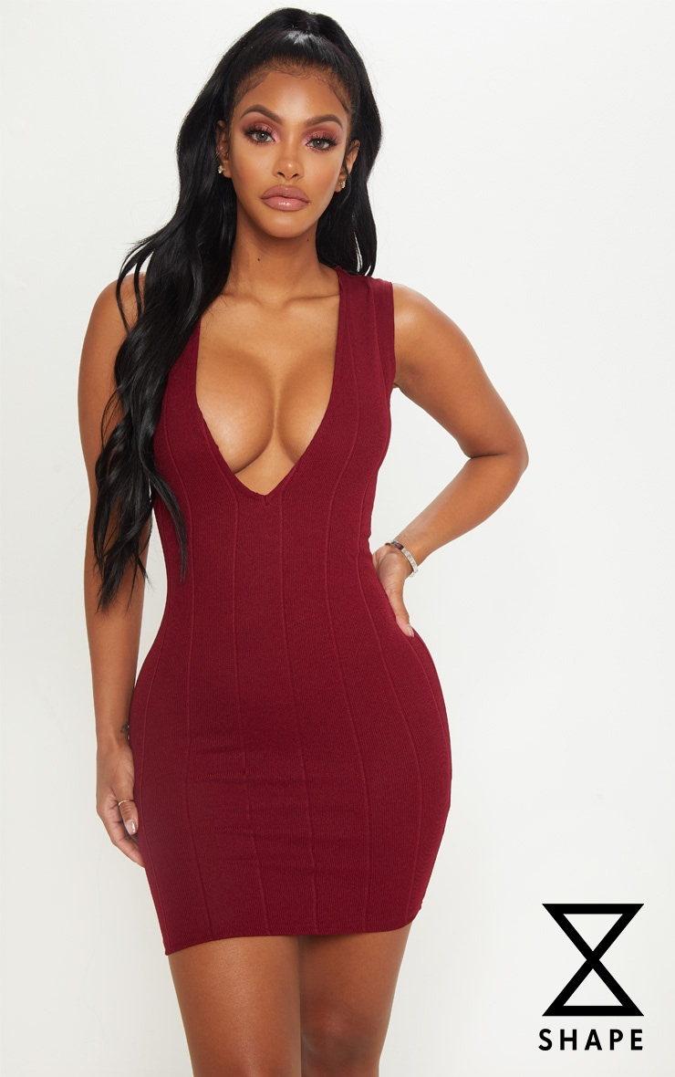 Shape Burgundy Bandage Plunge Bodycon Dress 1