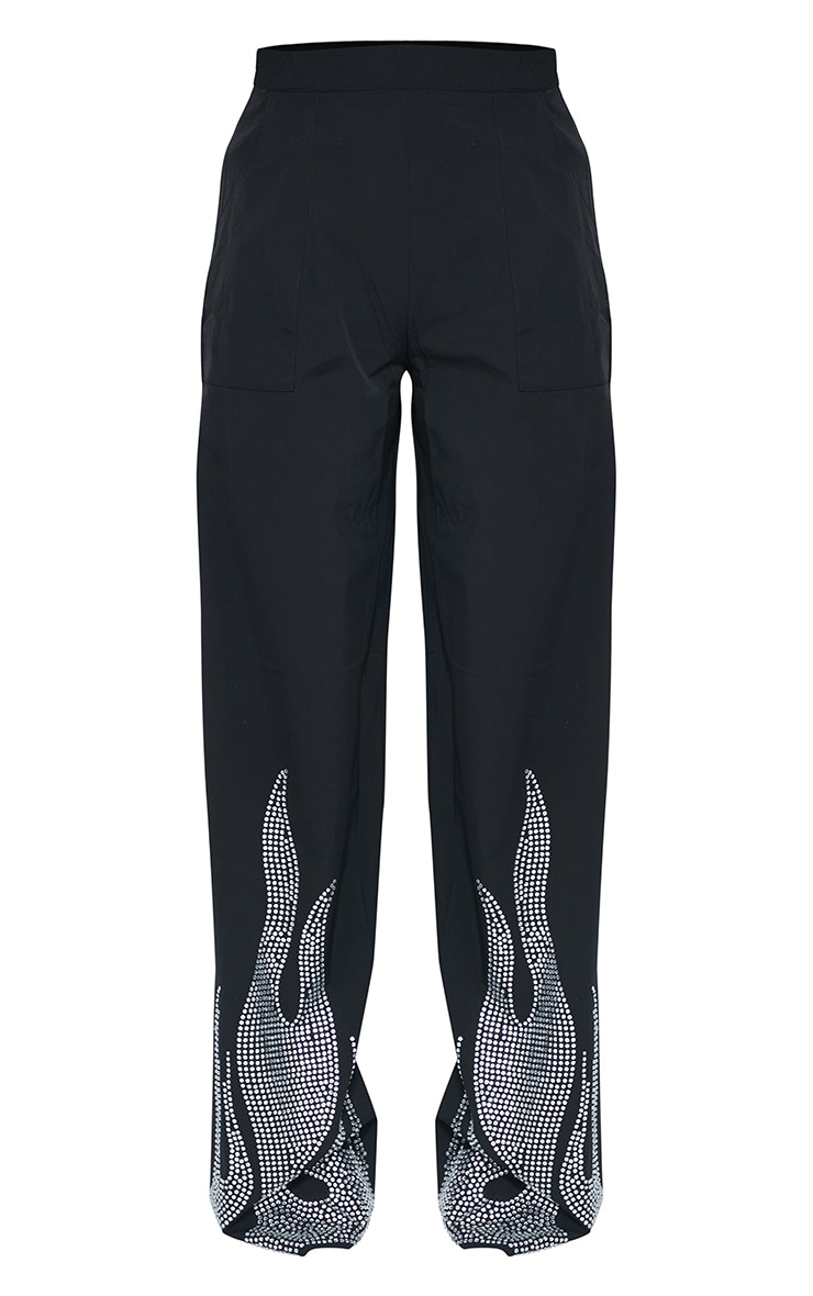 Black Diamante Flame Flare Leg Trousers 5