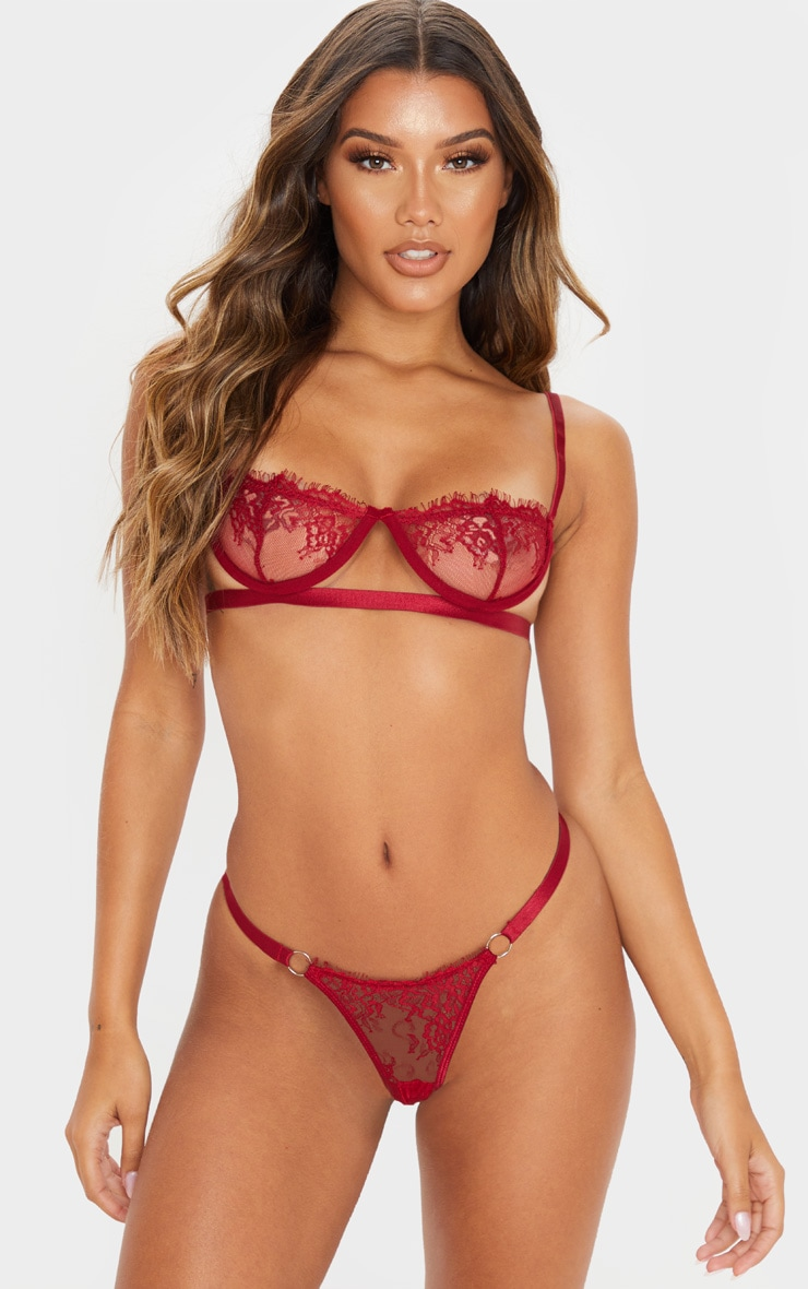 Wine Ring Detail Underwired Lingerie Set 1