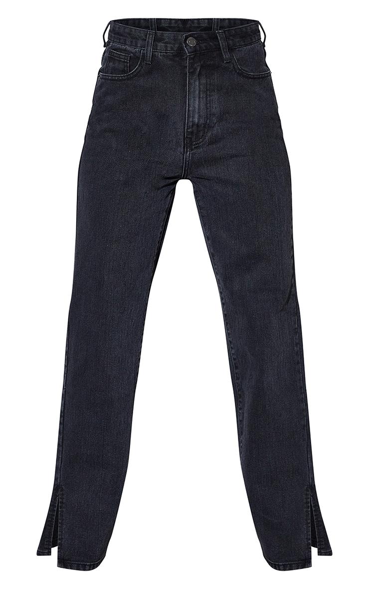 Petite Black Ripped Back Split Hem Jeans 5