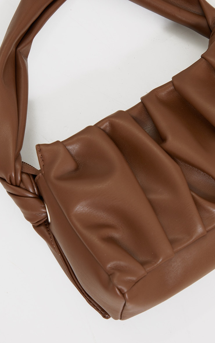 Chocolate Pleated Front Shoulder Bag 4