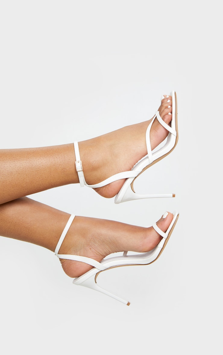 White PU Square Toe Strappy High Heeled Sandals 3