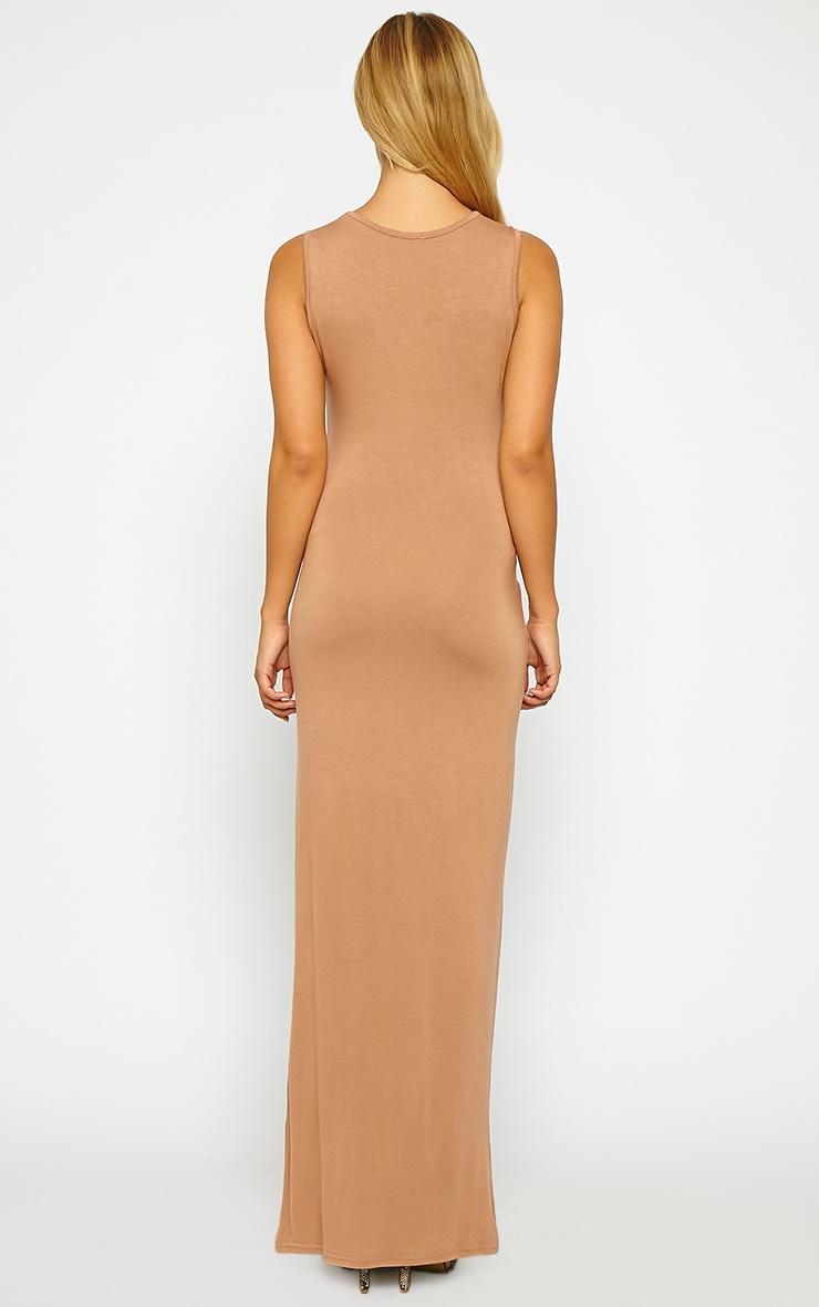 Annie Camel Tie Front Maxi Dress 2