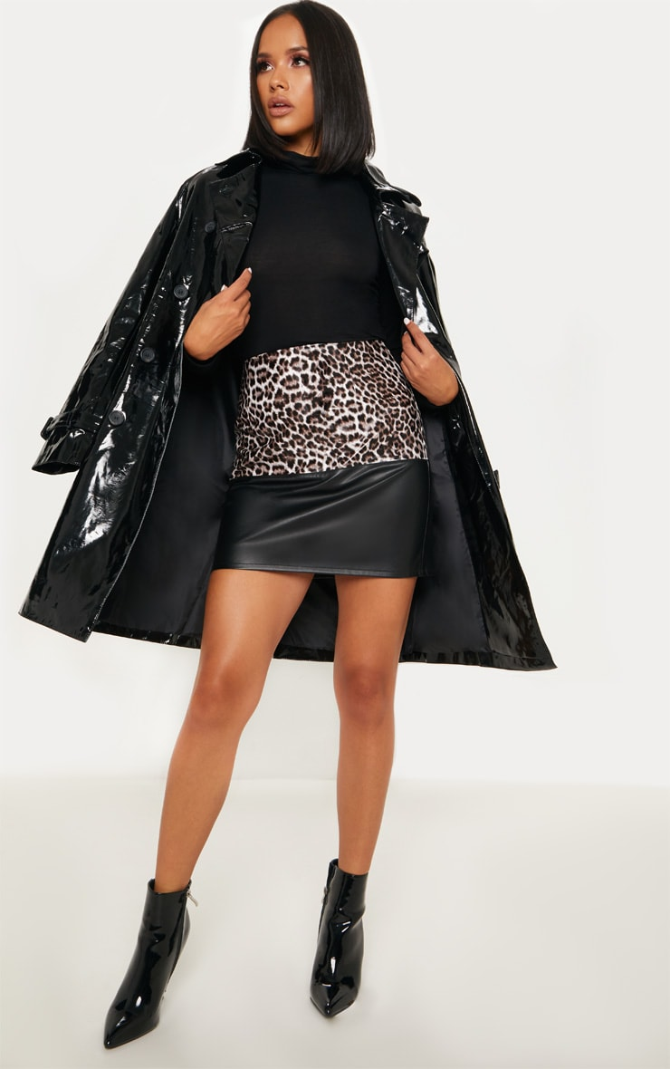 Brown Faux Leather Animal Print Colour Block Skirt 5