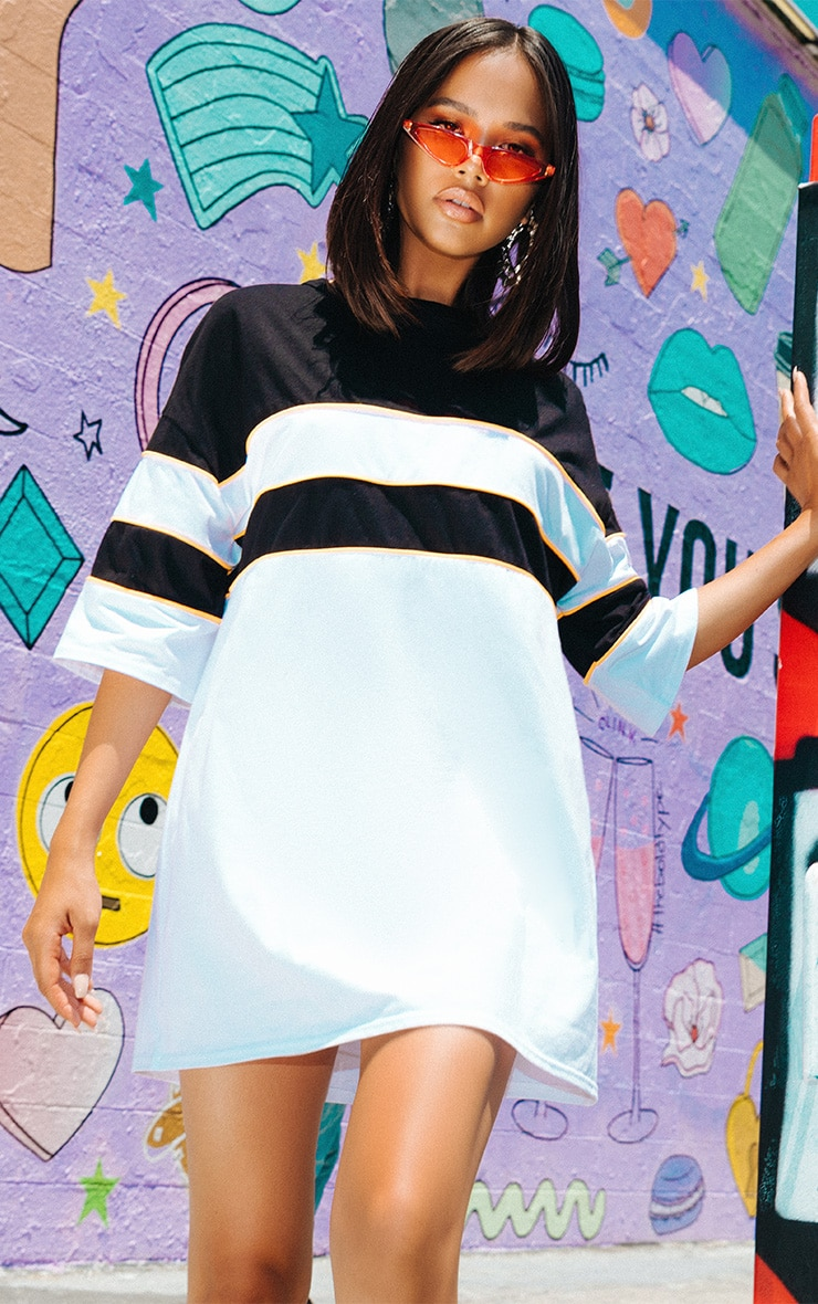 White Oversized Neon Trim Stripe T-Shirt Dress 1