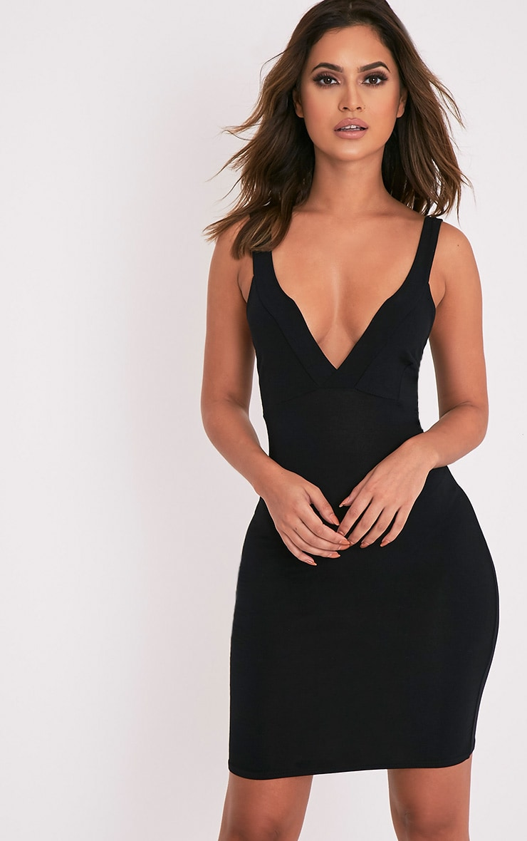 Rachie Black Strappy Plunge Bodycon Dress 1