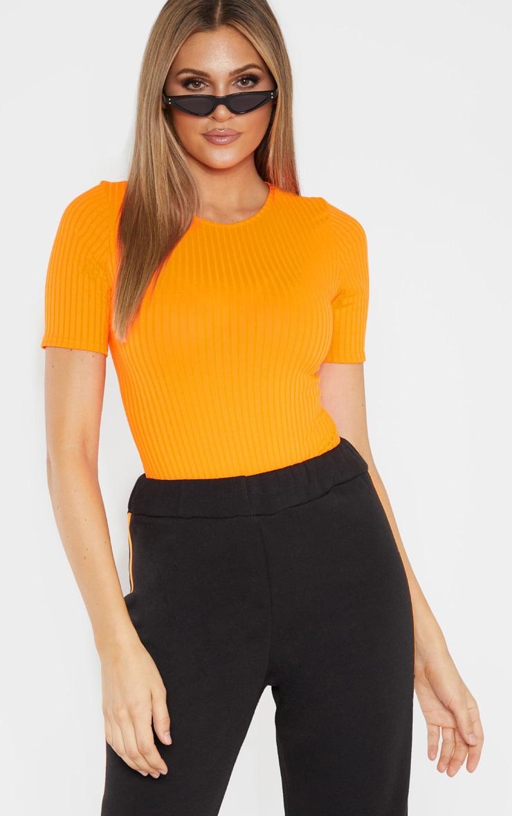 Tall Neon Orange Ribbed Short Sleeve Bodysuit  1