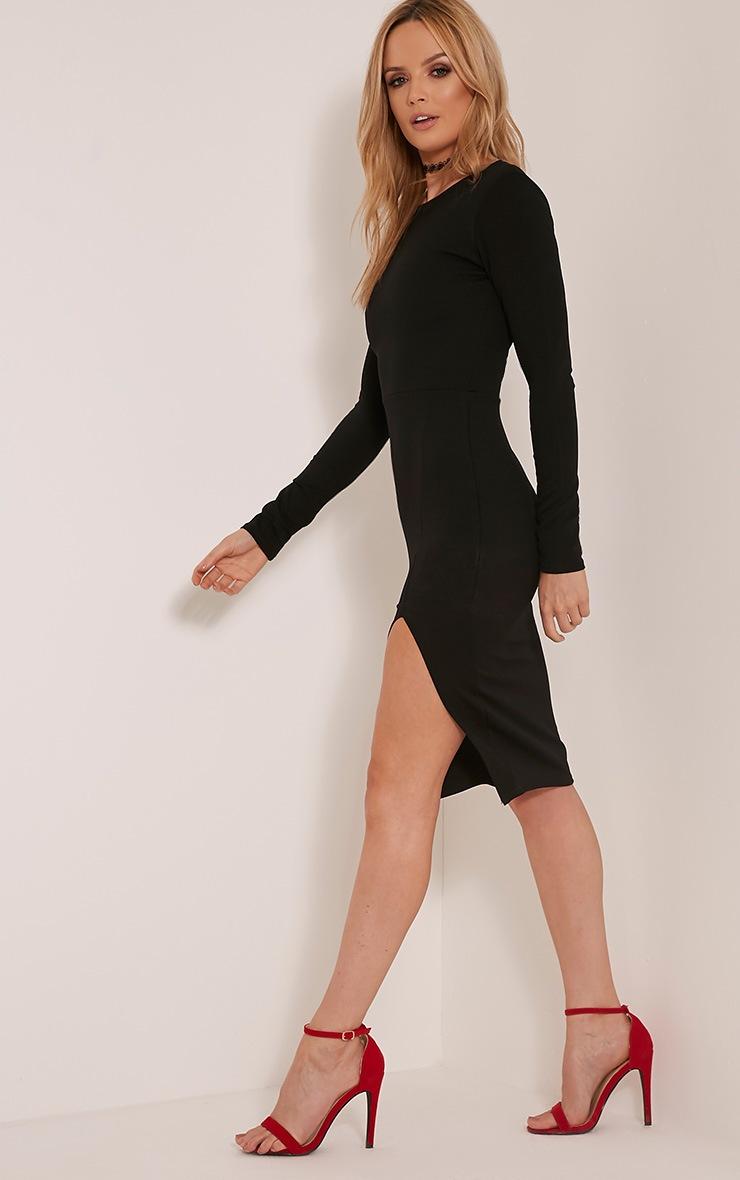 Aneelia Black Cross Back Long Sleeve Midi Dress 7