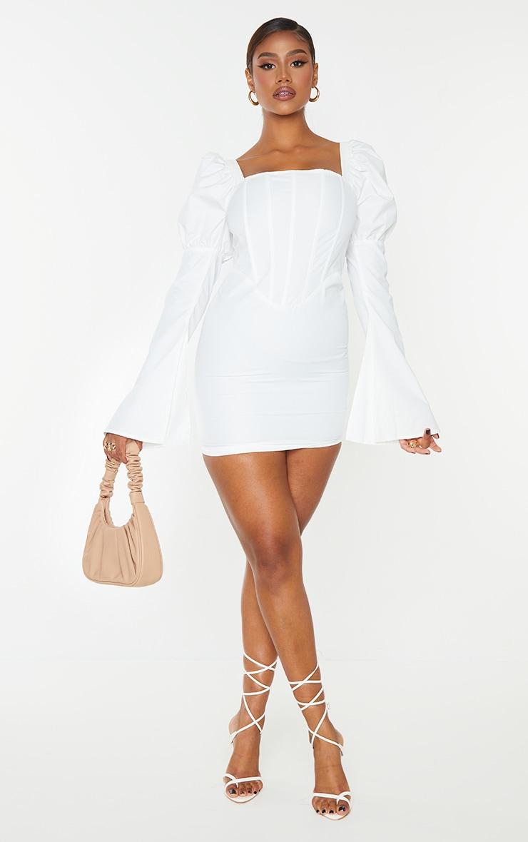 White Bell Sleeve Corset Detail Long Sleeve Bodycon Dress 3