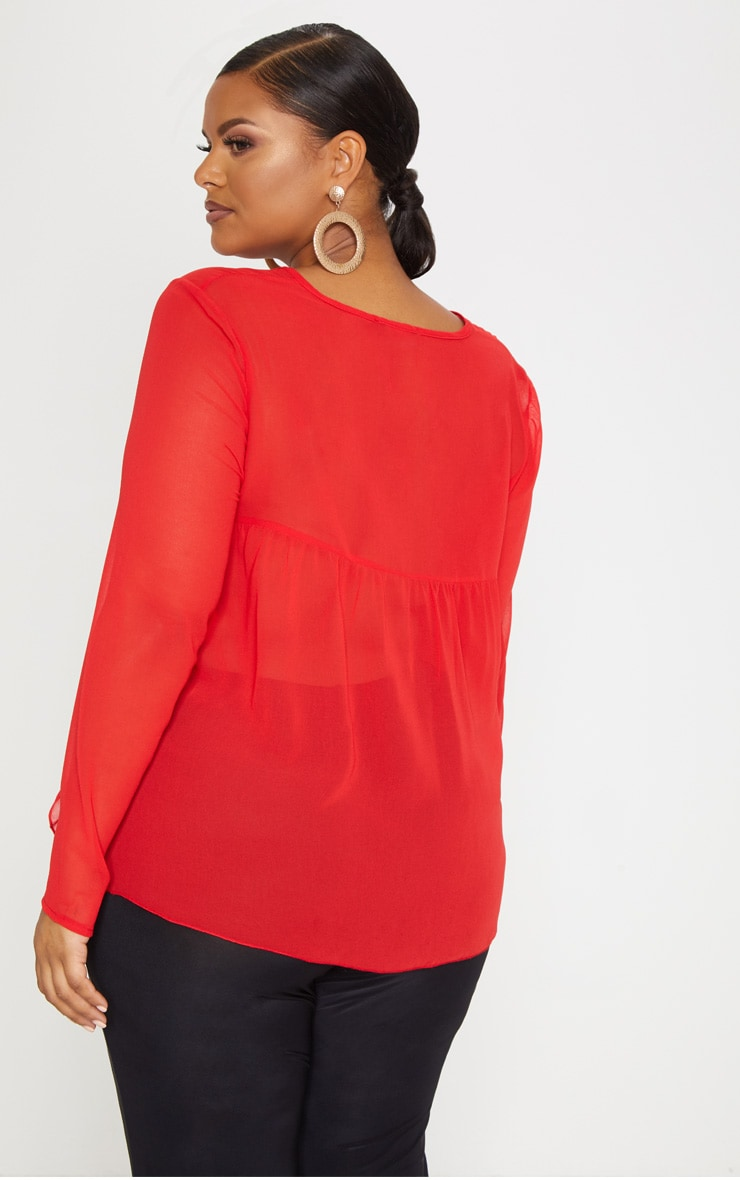 Plus Red Sheer Frill Sleeve Top 2