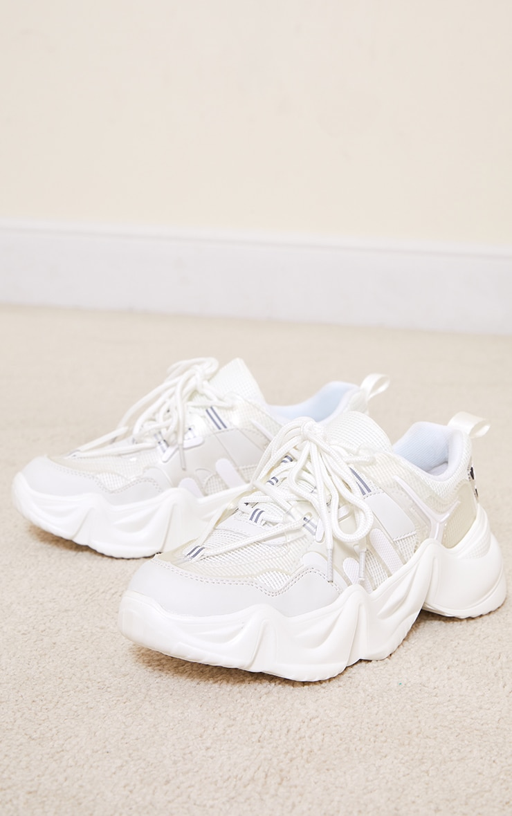 White PU Wave Gritted Sole Contrast Trainers 3