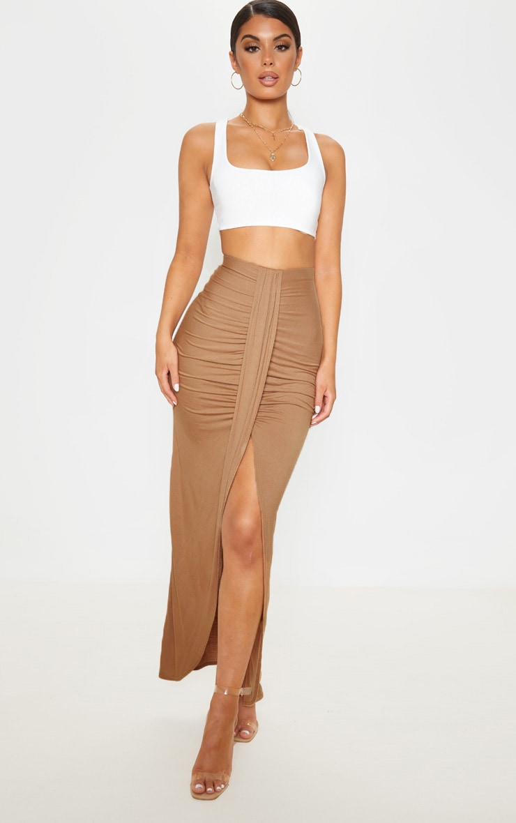 Camel Jersey Drape Front Maxi Skirt  1