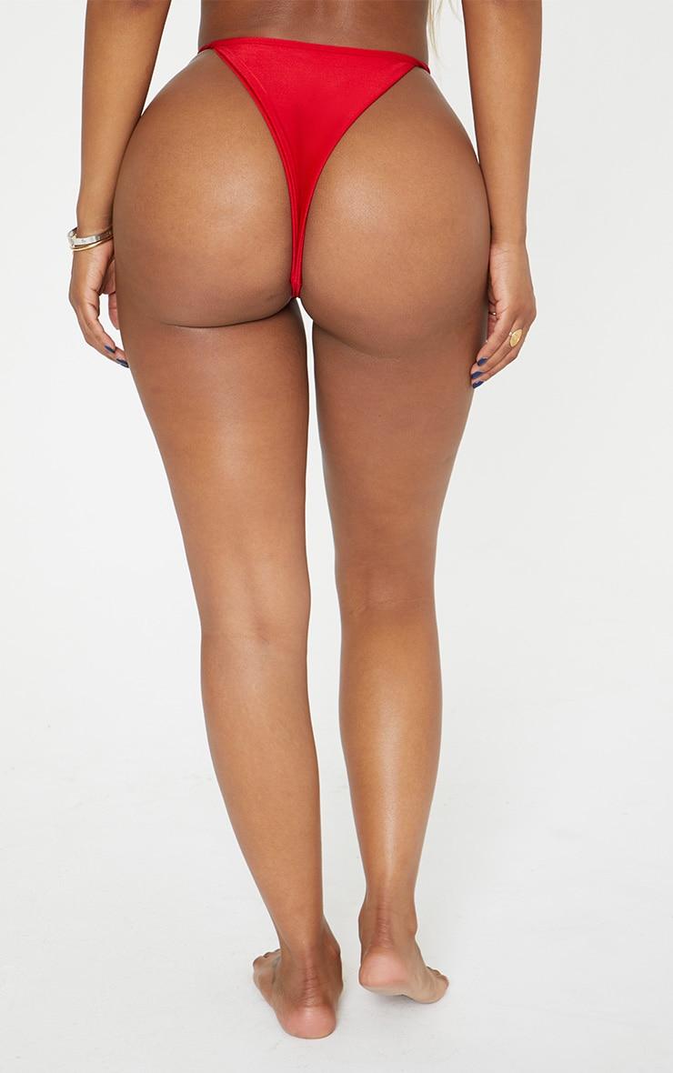Shape Red Strappy Thong Bikini Bottom 5