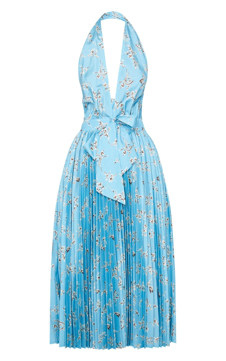 Dusty Blue Floral Print Halterneck Pleated Midi Dress 5