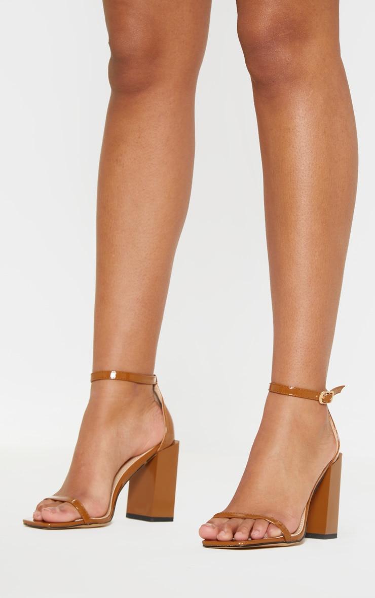 Tan Chunky Block Heel Strappy Sandal
