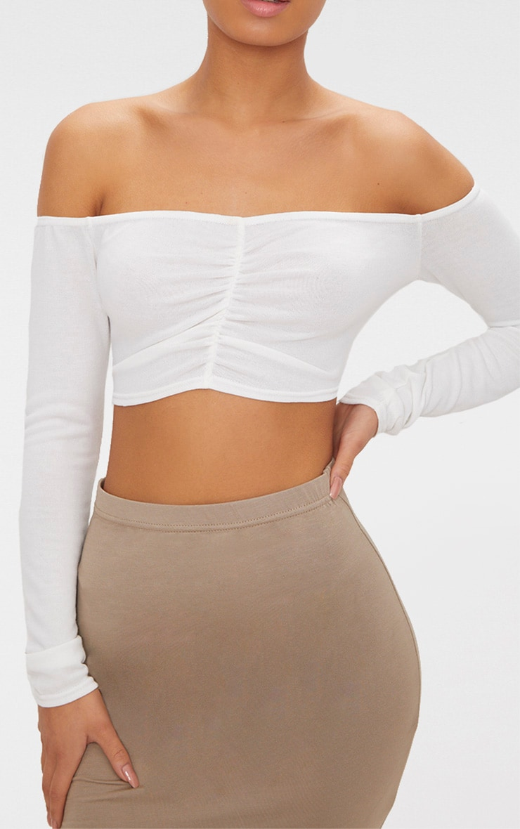 Cream Ruched Front Knit Top 5