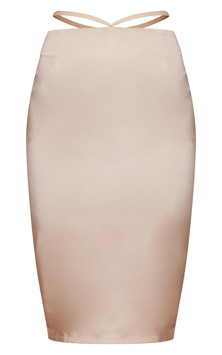 Champagne Woven Tie Waist Midi Skirt 5