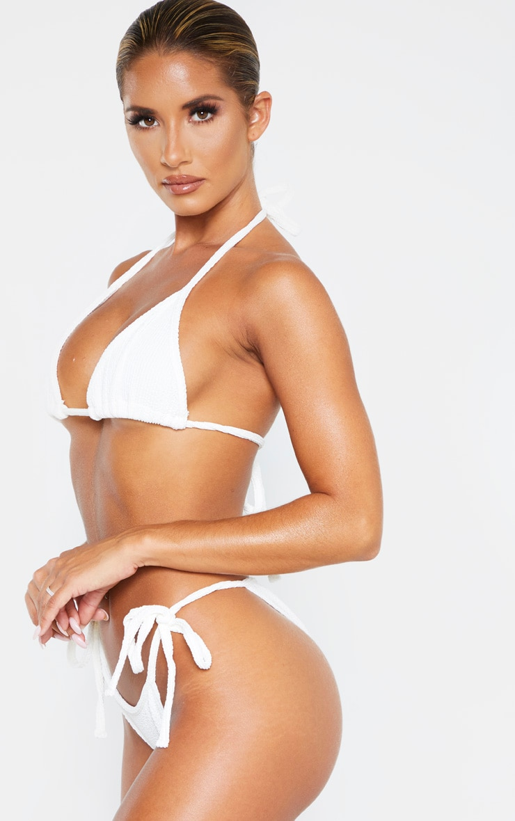 Cream Soft Crinkle Bikini Tie Side Bottom 2