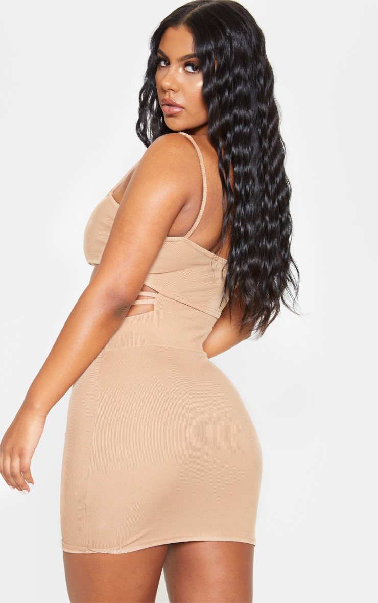 Stone Ribbed Strappy Cut Out Detail Bodycon Dress 2