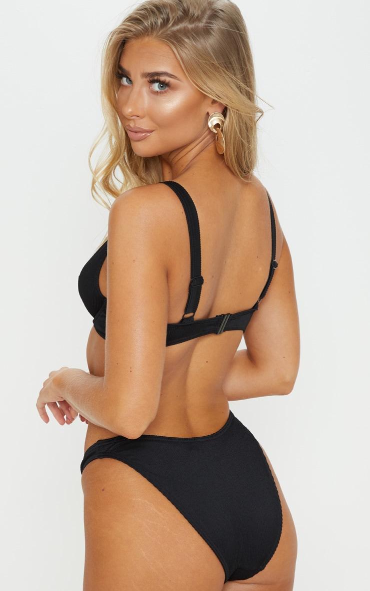 Black Ribbed Underwired High Apex Bikini Top 2